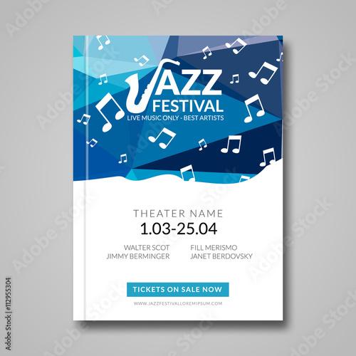 Vector musical flyer Jazz festival Music background festival