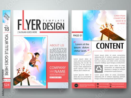 Brochure design template vectorBusiness flyers report magazine