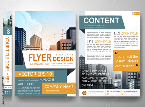 Flyers design template vectorCity design on a4 brochure layout