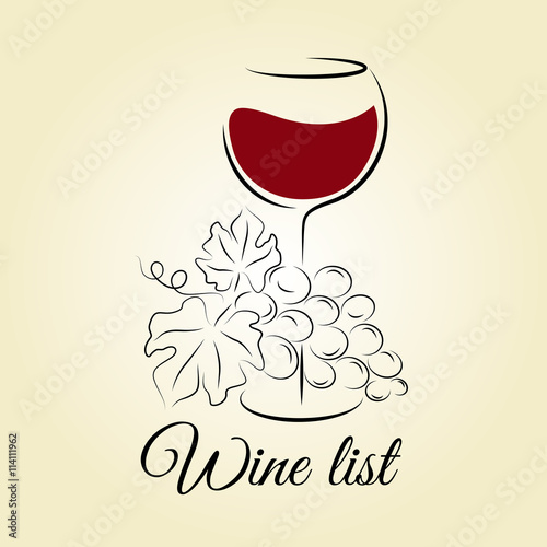 Wine glass with grape Wine list template Hand drawn concept for