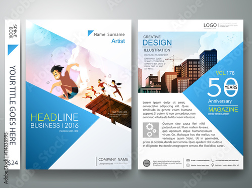 Brochure design template vectorBusiness flyers report magazine