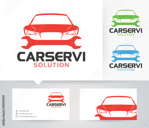 Car Service vector logo with alternative colors and business card