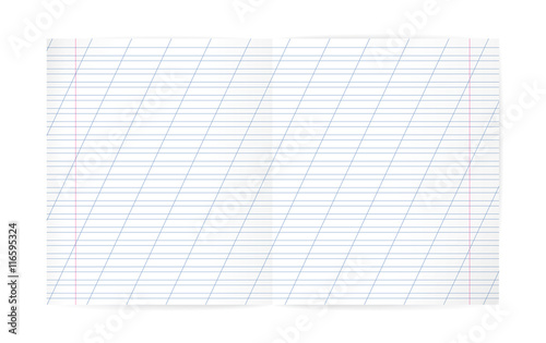 Blank lined notebook with lines, oblique diagonal lines and red