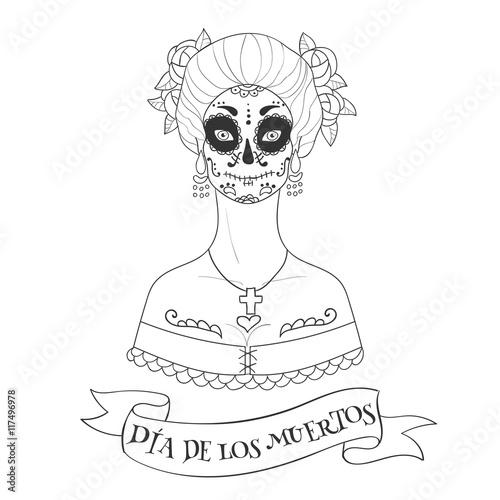 Sugar skull woman Dia de los Muertos (the Day of the Dead) template