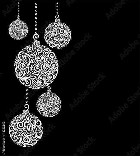 beautiful monochrome Black and White Christmas background with - christmas cards black and white