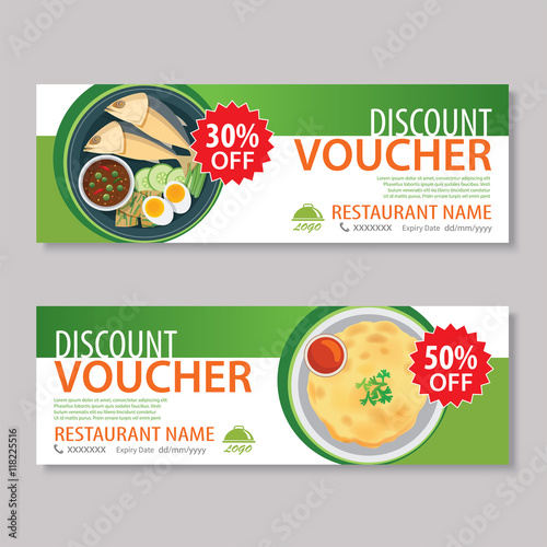 discount voucher template with thai food flat design\ - food voucher template