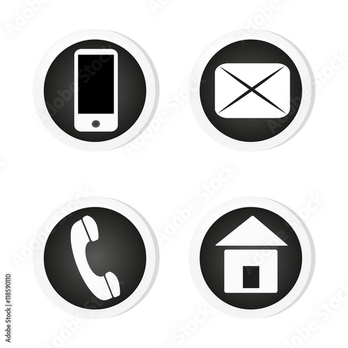 Vector contact buttons email, phone, mobile, address, icons, eps - address to phone