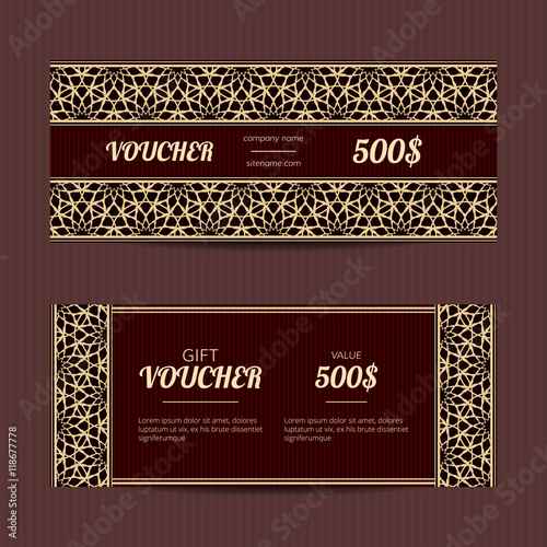 Gift voucher with luxury elegant design Vector template for coupon