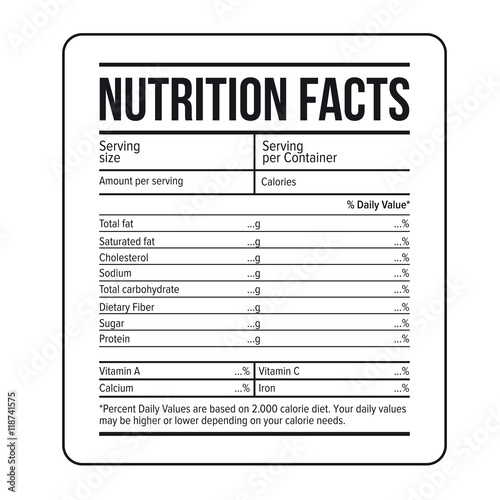 Nutrition Facts label template vector - ingredient label template