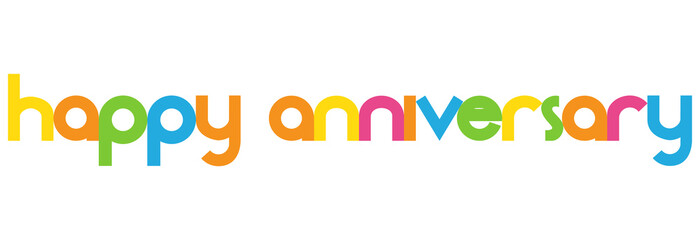 happy anniversary Colorful vector Letters banner\