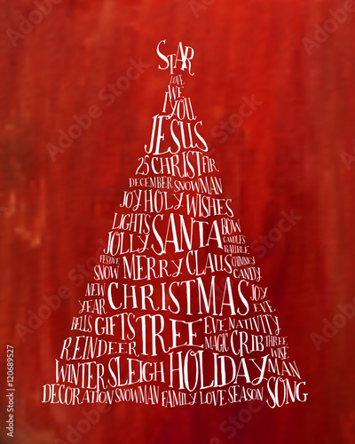 Christmas tree label made with related words Typography Vector - christmas tree words