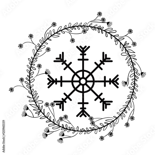 Snowflake and leaves crown icon Merry Christmas season decoration