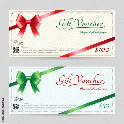 Christmas gift card or gift voucher template with shiny red and