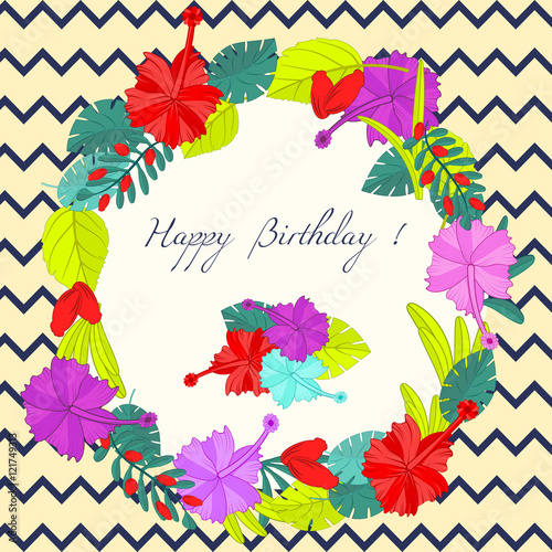 Happy Birthday Label for Holiday  for Invitations and Greeting