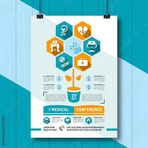 Medical Conference Poster, Flat infographics, business style Linear