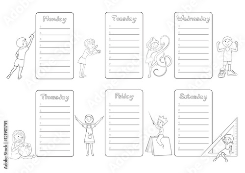 Kids timetable weekly planner coloring page vector\