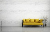 """3d illustration of empty white interior with yellow sofa ..."