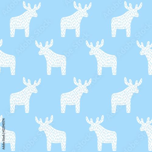 Reindeer Christmas pattern on light blue background Simple seamless