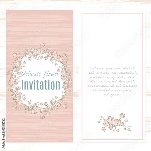 greeting card template floral background Design stationery set in