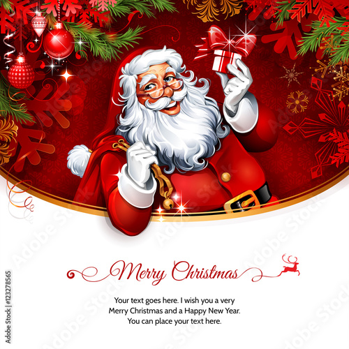 Santa Claus holding a present Vector vintage Christmas greeting