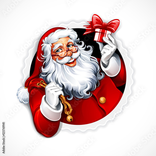 Cartoon Santa Claus holding a present Vector vintage Christmas