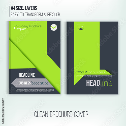 Clean Brochure design, annual report, cover template, magazine
