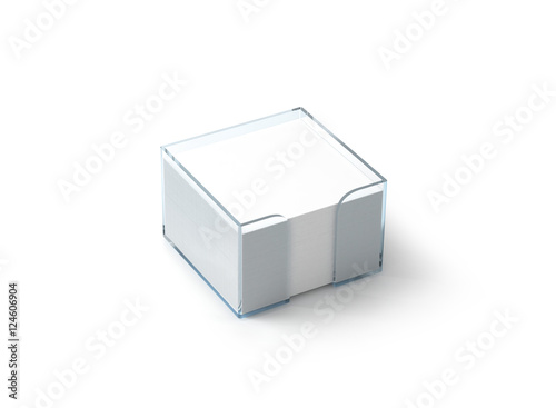 Blank white note paper block plastic holder mockup, clipping path - note paper template