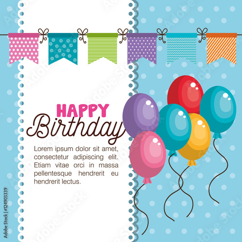 happy birthday invitation card vector illustration design\