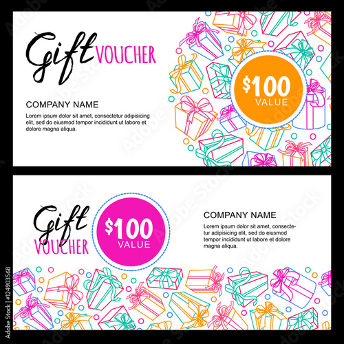 Vector gift voucher template with outline multicolor gift box