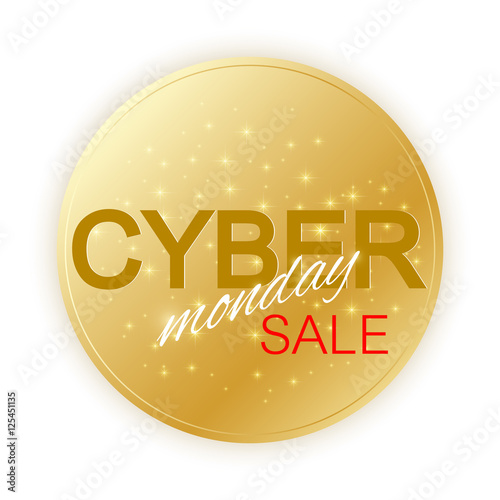 Cyber Monday Sale sign template Promotional banner design Golden