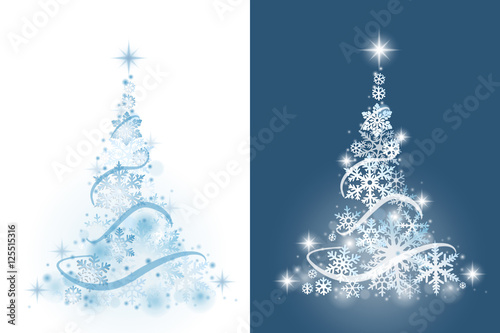 Christmas tree from snowflakes on white and blue background\