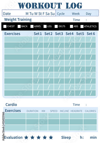 Fitness diary, workout log, training diary\