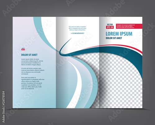 Vector tri fold brochure template design, concept business trifold