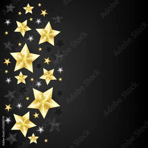 Christmas background with border from gold, black and white star - black border background