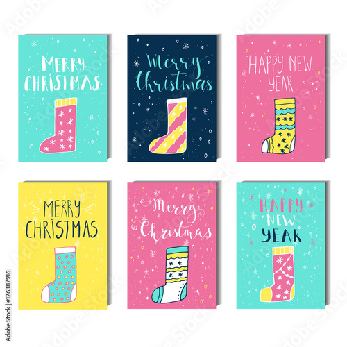 merry christmas happy new year text label on a winter background new year new