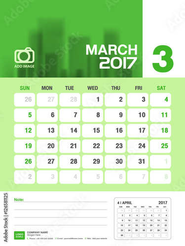 March Desk calendar 2017, Green Calendar 2017, vertical calendar