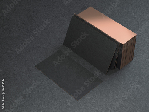 Black and gold business cards mockup on black background, 3d