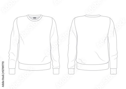 White men\u0027s sweatshirt template, front and back view\