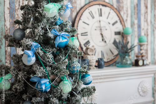"""""""Mint color Christmas decoration of living room"""