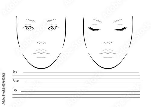 Face chart Makeup Artist Blank Template Vector illustration - eye chart template