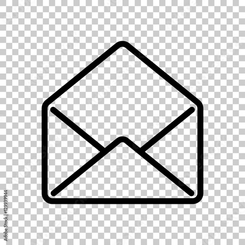 mail open icon Black icon on transparent background\ - mail background
