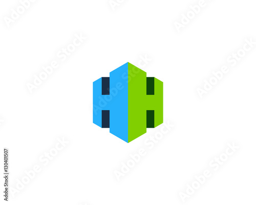 Letter H 3D Cube Logo Design Element\