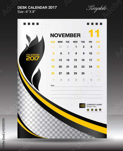 NOVEMBER Desk calendar 2017 year Size 6x8 inch vertical, Business