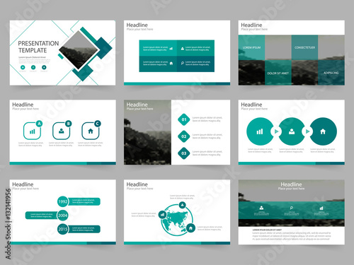 Green Abstract presentation templates, Infographic elements template