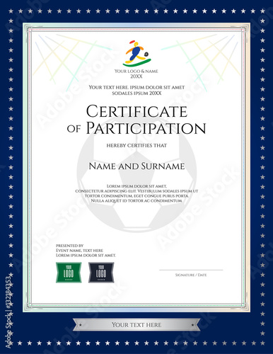 Sport theme certificate of participation template for football match - football certificate template