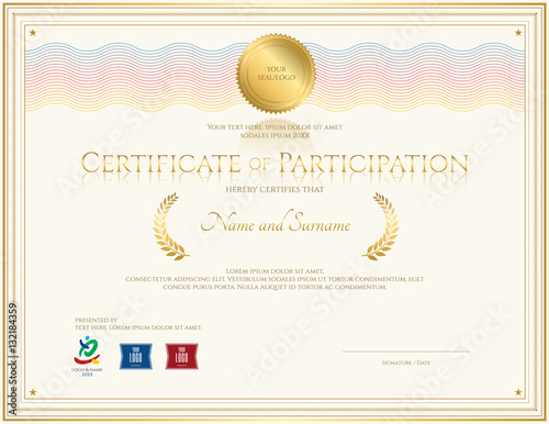 Certificate of participation template with colorful wave watermark