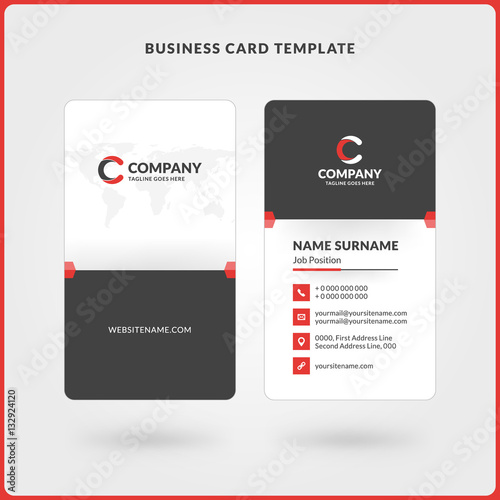 Vertical Double-sided Business Card Template Red and Black Colors