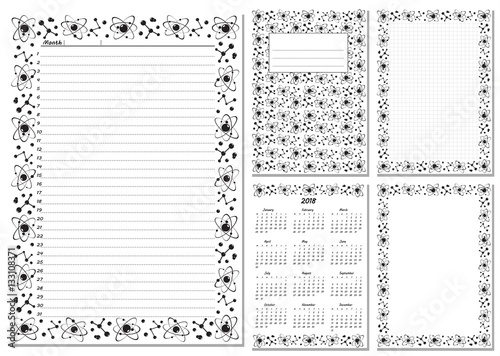 Set of pages template for daily planner Printable, for scrapbook