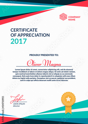 Certificate of Appreciation template Cool geometric design Layered
