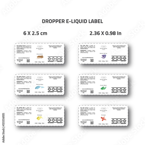 Dropper e-liquid label for branding identity of eliquid brand white